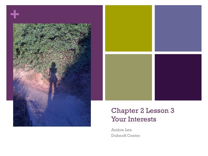 Chapter 2 Lesson 3 Your Interests Ambre Lee Dubnoff Center
