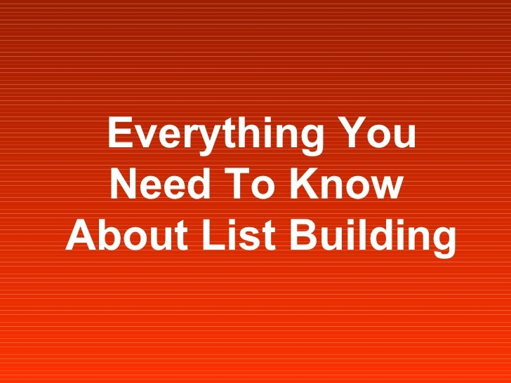 Internet/Email Marketing - List Building Guide