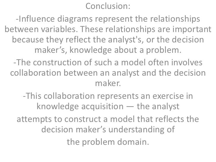 Conclusion:   -Influence diagrams represent the relationshipsbetween variables. These relationships are important  because...