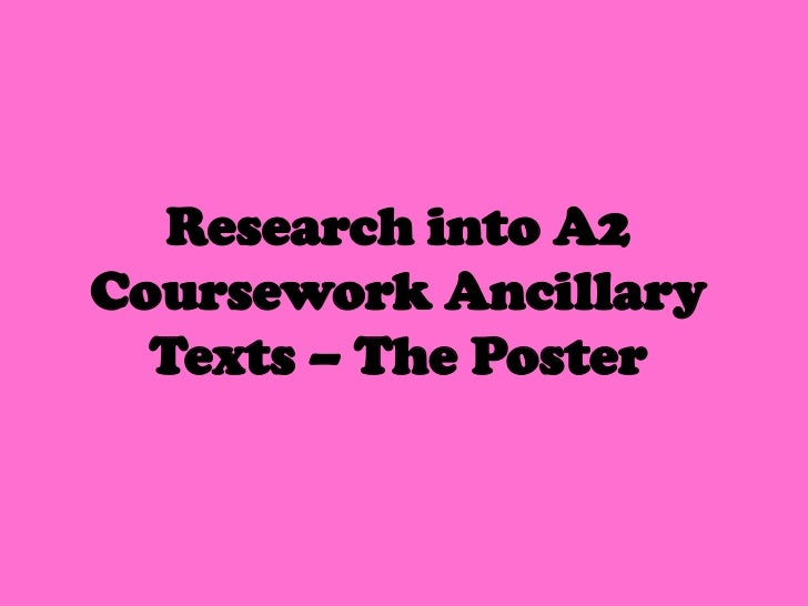 Research into A2Coursework Ancillary  Texts – The Poster