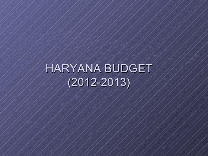 haryana budget 2012-2013