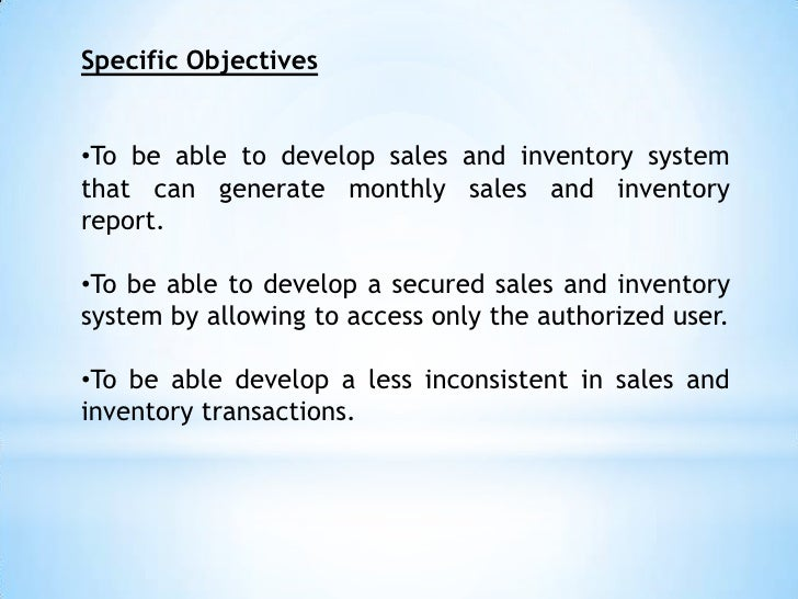 sales and inventory system 2 essay Free essays on sales and inventory system for pharmacy chapter 1 and 2 thesis for students use our papers to help you with yours 1 - 30.