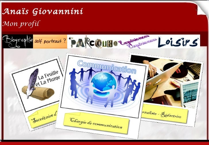 Anaïs Giovannini2Mon profil                   Me connaître…