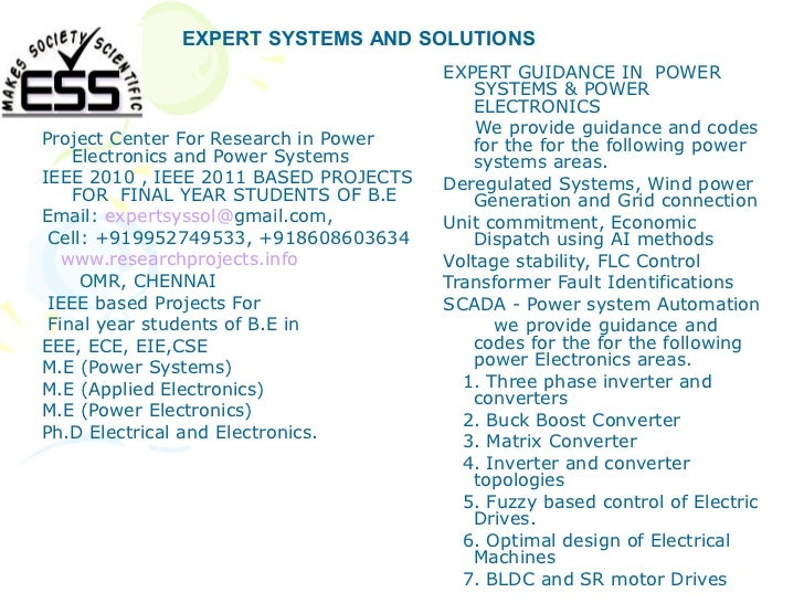 EXPERT SYSTEMS AND SOLUTIONS                                       EXPERT GUIDANCE IN POWER                               ...