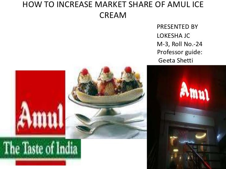 HOW TO INCREASE MARKET SHARE OF AMUL ICE                 CREAM                             PRESENTED BY                   ...