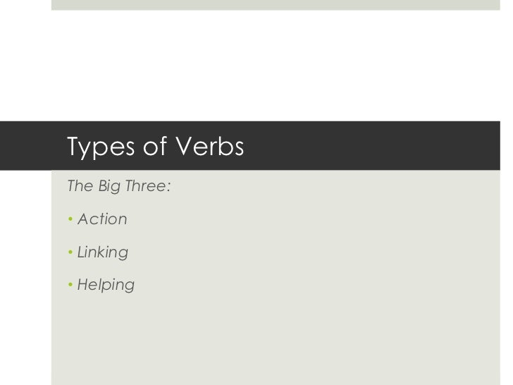 Types of VerbsThe Big Three:• Action• Linking• Helping