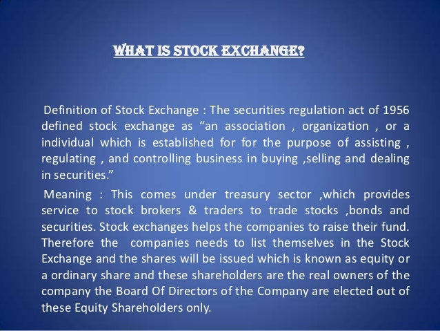 Definition Of Securities Stock Exchange