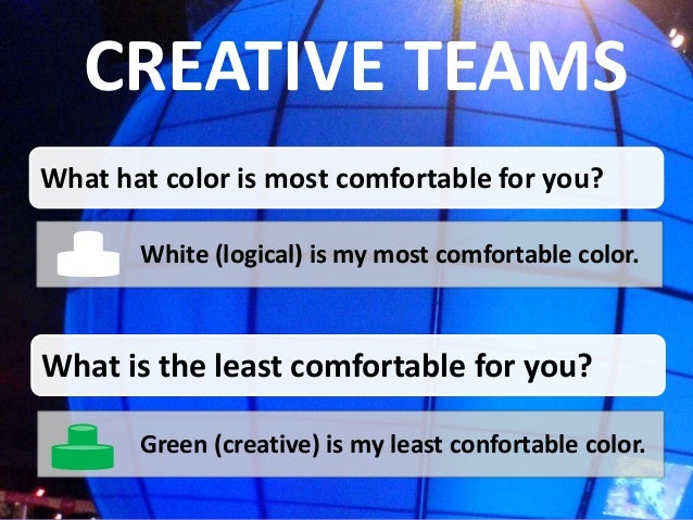 CREATIVE TEAMSWhat hat color is most comfortable for you?       White (logical) is my most comfortable color.What is the l...