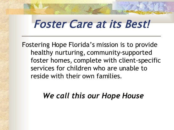<ul><li>Fostering Hope Florida's mission  is to provide healthy nurturing, community-supported foster homes, complete with...
