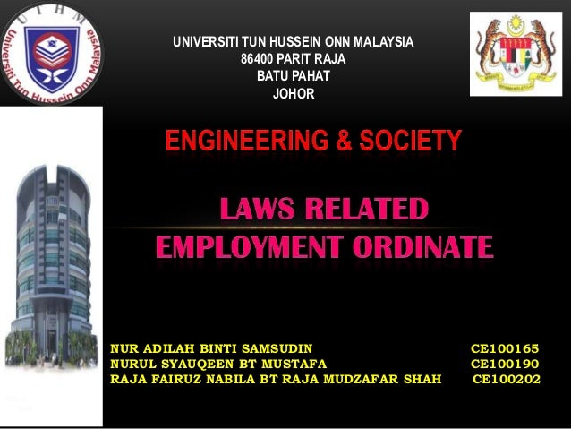 LAWS RELATED EMPLOYMENT ORDINATE
