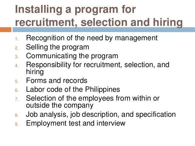 Selection process writing recruitment assignment
