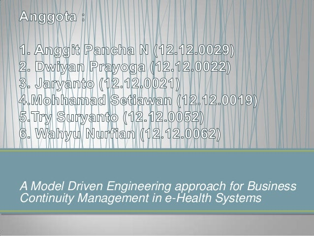 A Model Driven Engineering approach for Business Continuity Management in e-Health Systems