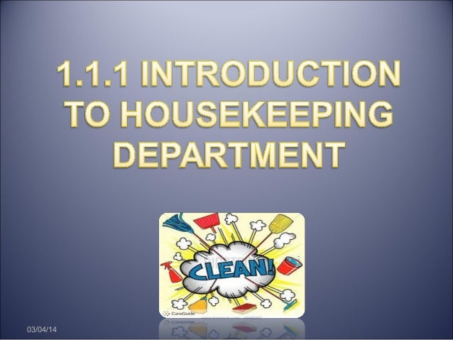 Chapter 1 : Introduction of Housekeeping Department
