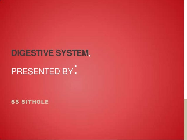 DIGESTIVE SYSTEM,  :  PRESENTED BY  SS SITHOLE