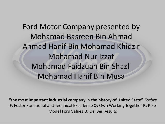 Presentation history ford motor company for Kia motors mission statement