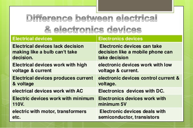 Basic Electrical And Elctronics Devices Or Equipments Used
