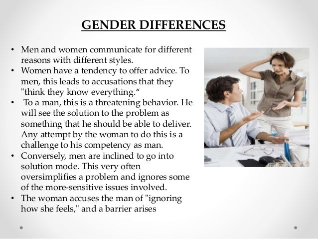 men and women communication styles For decades, it's been said that men and women communicate so inherently differently they may as well be from opposite planets while we can't yet prove that to be true, studies do show different behavioral patterns when it comes to gender and communication.