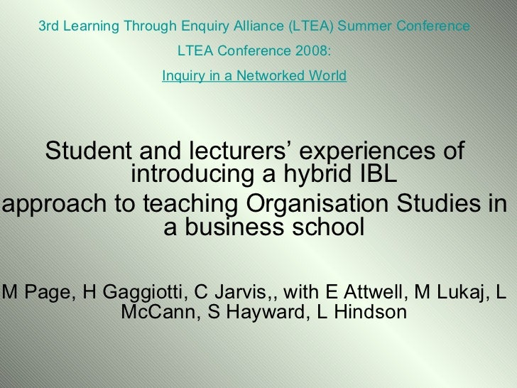 Hybrid IBL in Organisational Studies
