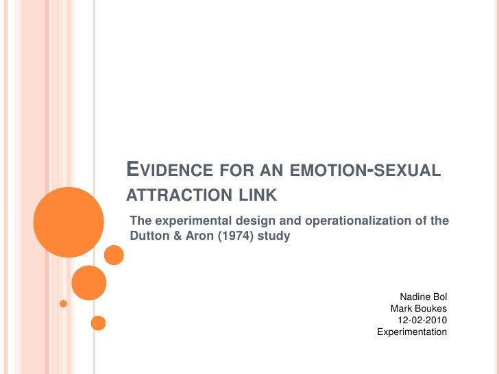 Evidenceforanemotion-sexualattraction link<br />The experimental design and operationalization of the Dutton & Aron (1974)...