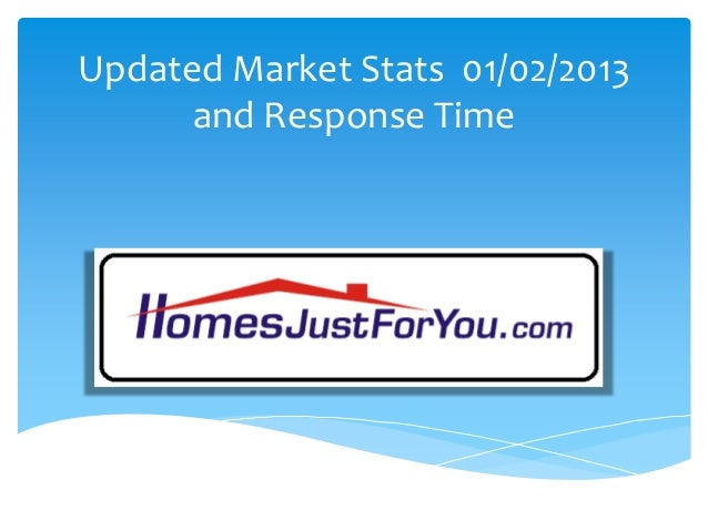 Updated Market Stats 01/02/2013 and Response Time
