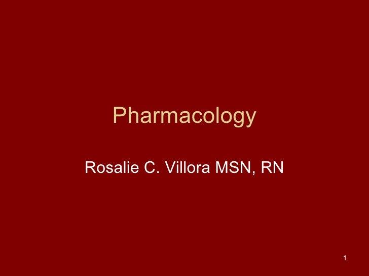 Pharmacology Rosalie C. Villora MSN, RN