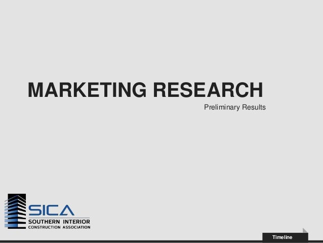 MARKETING RESEARCH             Preliminary Results                                   Timeline