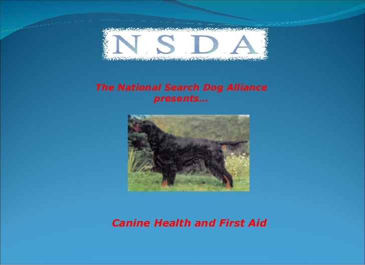 The National Search Dog Alliance presents… Canine Health and First Aid