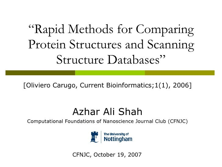 """"""" Rapid Methods for Comparing Protein Structures and Scanning Structure Databases"""" [Oliviero Carugo, Current Bioinformatic..."""
