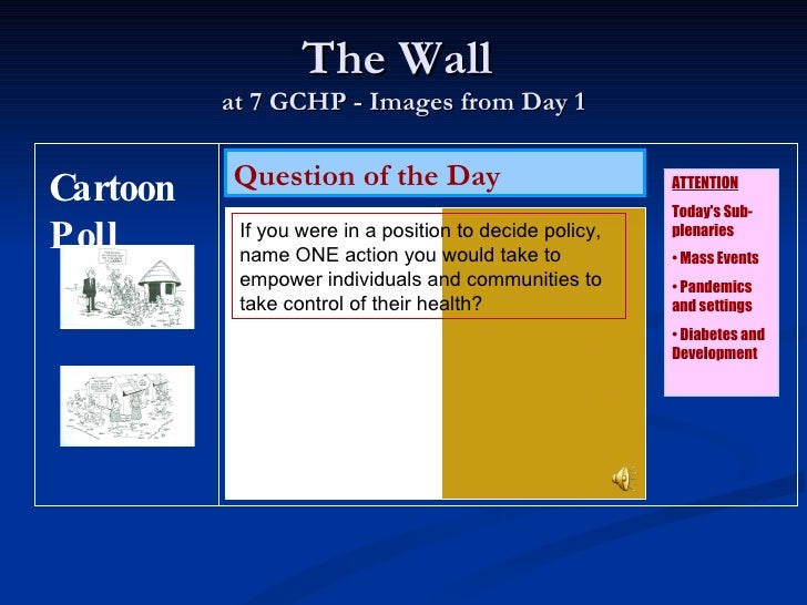 The Wall  at 7 GCHP - Images from Day 1 Question of the Day <ul><li>ATTENTION </li></ul><ul><li>Today's Sub-plenaries </li...