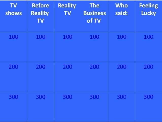 TVshowsBeforeRealityTVRealityTVTheBusinessof TVWhosaid:FeelingLucky100 100 100 100 100 100200 200 200 200 200 200300 300 3...