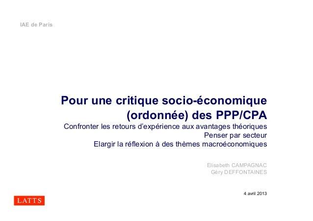 IAE de Paris               Pour une critique socio-économique                          (ordonnée) des PPP/CPA             ...