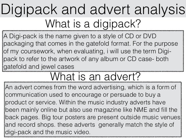 Research into Digipacks and Music Magazine adverts