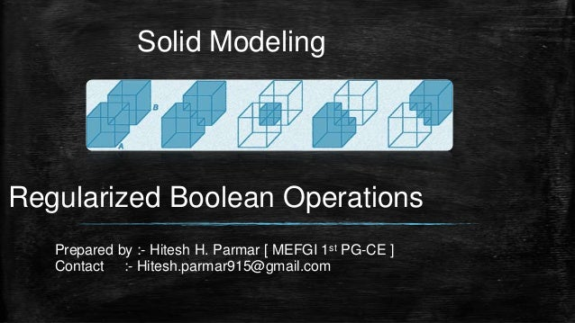 Solid Modeling Regularized Boolean Operations Prepared by :- Hitesh H. Parmar [ MEFGI 1st PG-CE ] Contact :- Hitesh.parmar...