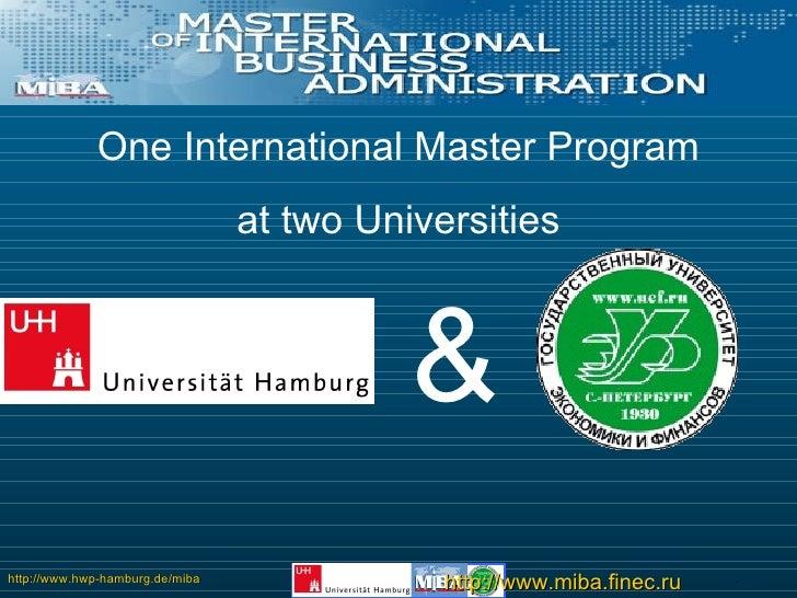 One International Master Program at two Universities &