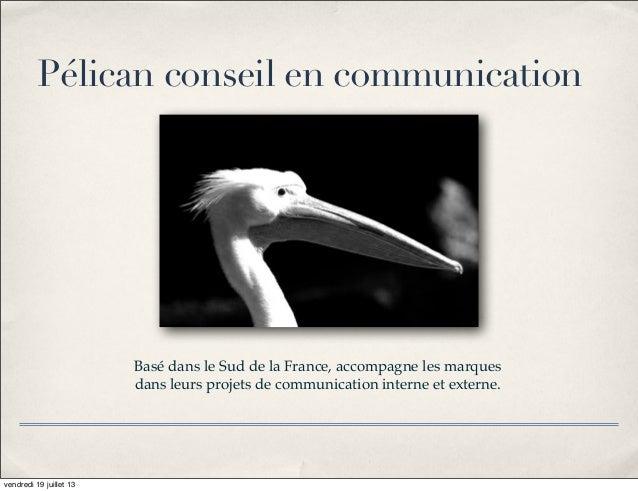 Basé dans le Sud de la France, accompagne les marques dans leurs projets de communication interne et externe. Pélican cons...