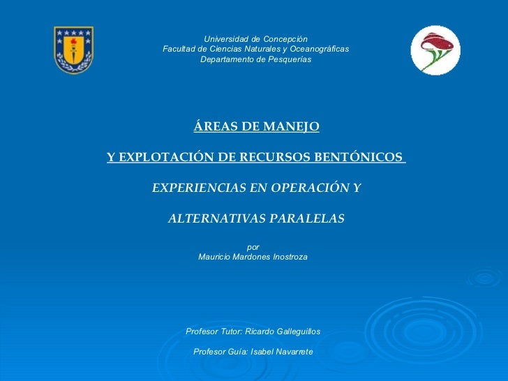Universidad de Concepción Facultad de Ciencias Naturales y Oceanográficas Departamento de Pesquerías ÁREAS DE MANEJO Y EXP...