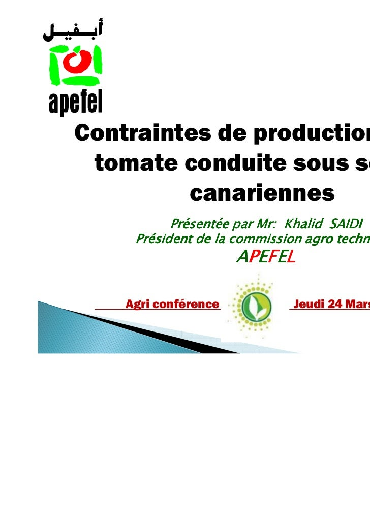 Presentation apefel  agriconferences 2011