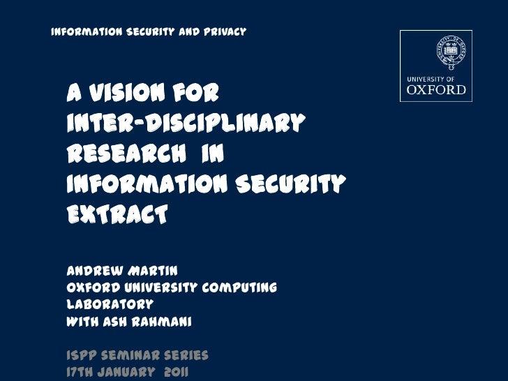Interdisciplinary IT Security