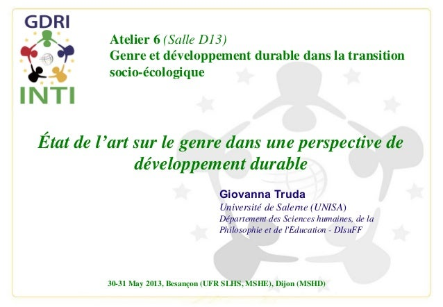 INTI 13 - Etat de l'art sur le genre dans une perspective de développement durable