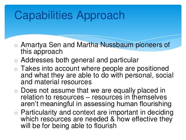 how capability approach view justice essay