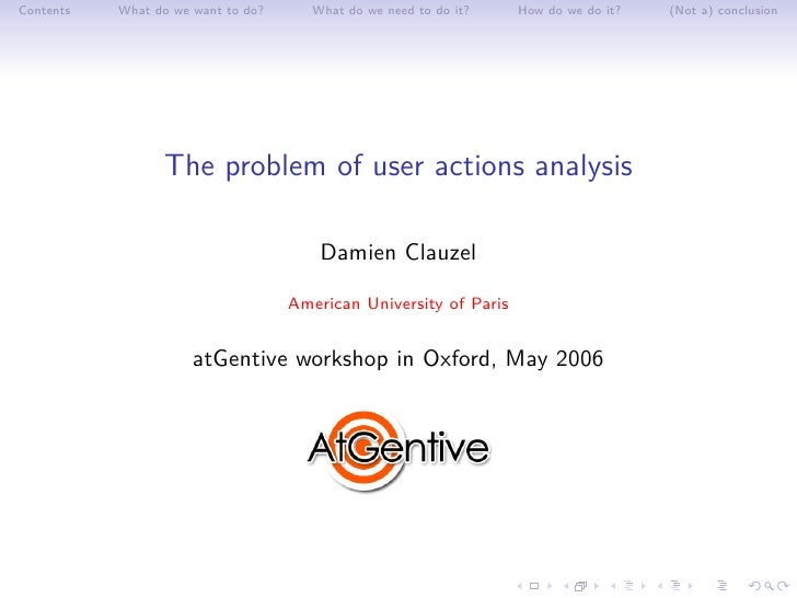 The problem of user actions analysis
