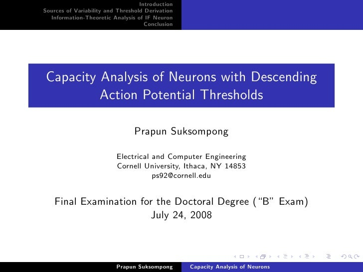 Introduction Sources of Variability and Threshold Derivation   Information-Theoretic Analysis of IF Neuron                ...