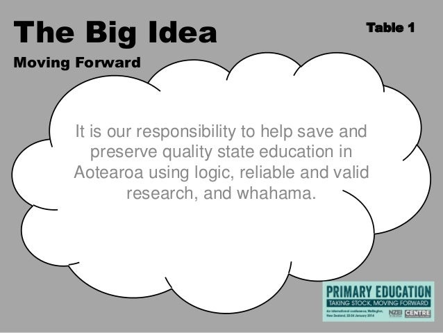 The Big Idea  Table 1  Moving Forward  It is our responsibility to help save and preserve quality state education in Aotea...