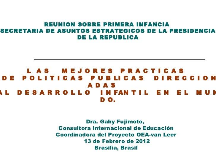 Dra. Gaby Fujimoto,  Consultora Internacional de Educación Coordinadora del Proyecto OEA-van Leer 13 de Febrero de 2012 Br...