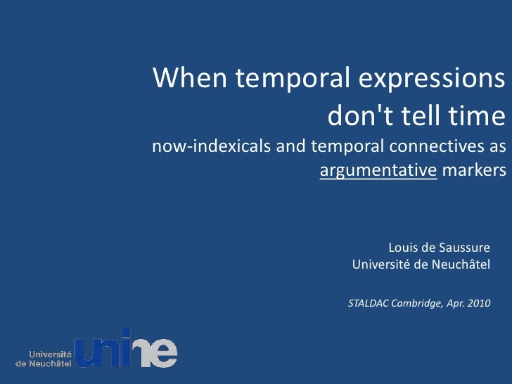When temporal expressions don't tell timenow-indexicals and temporal connectives as argumentative markers<br />Louis de Sa...