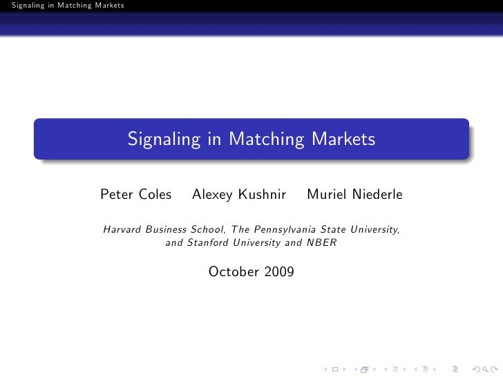 Signaling in matching markets