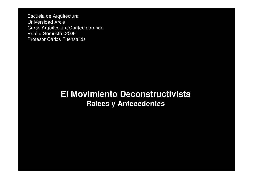 Escuela de Arquitectura Universidad Arcis Curso Arquitectura Contemporánea Primer Semestre 2009 Profesor Carlos Fuensalida...