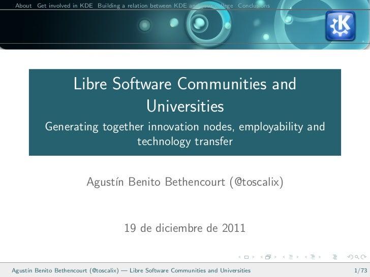 Libre Software Communities and Universities