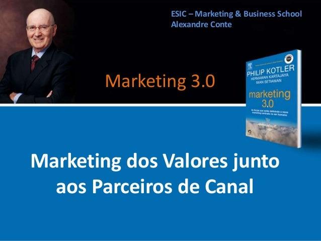 Marketing dos Valores junto aos Parceiros de Canal ESIC – Marketing & Business School Alexandre Conte Marketing 3.0