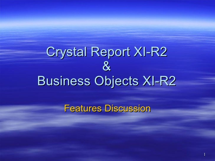 Presentation on Crystal Reports and Business Objects Enterprise Features